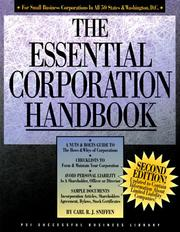Cover of: The essential corporation handbook