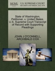 Cover of: State of Washington Petitioner V United States US Supreme Court Transcript of Record with Supporting Pleadings