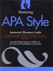 Cover of: Mastering APA Style | Harold Gelfand