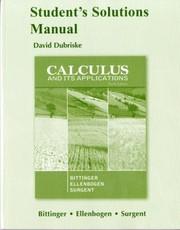 Cover of: Students Solutions Manual For Calculus And Its Applications Tenth Edition By Marvin L Bittinger David J Ellenbogen Scott A Surgent