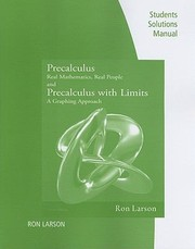 Cover of: Students Solutions Manual Precalculus Real Mathematics Real People And Precalculus With Limits A Graphing Approach
