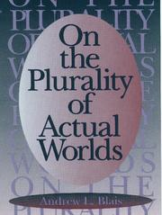 Cover of: On the plurality of actual worlds