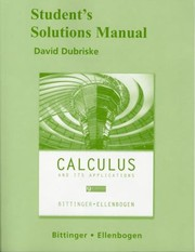Cover of: Student Solutions Manual for Calculus and Its Applications