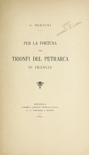 Cover of: Per la fortuna dei Trionfi del Petrarca in Francia