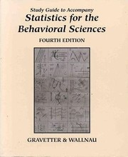 Cover of: Study Guide To Accompany Statistics For The Behavioral Sciences