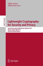 Cover of: Lightweight Cryptography for Security and Privacy