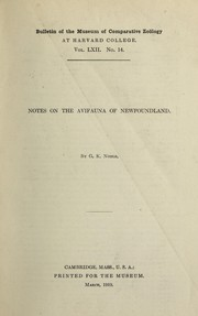 Cover of: Notes on the avifauna of Newfoundland