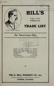 Hills Fall 1920 wholesale trade list for nurserymen only
