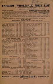 Cover of: Farmers wholesale price list | Jefferson Seed Co