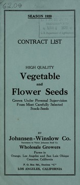 Cover of: Contract list [of] high quality vegetable and flower seeds | Johansen-Winslow Company