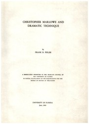 Cover of: Christopher Marlowe and dramatic technique | Frank Bernard Fieler