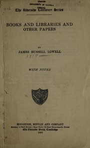 Cover of: Books and libraries: and other papers.