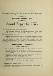 Cover of: [Report 1930] | Monmouthshire (Wales). County Council. School Health Service