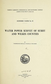 Cover of: Water power survey of Surry and Wilkes counties