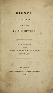Cover of: Rienzi: a tragedy, in five acts