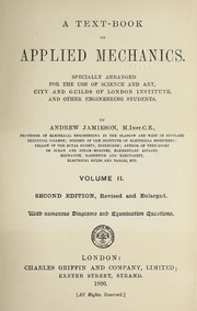 Cover of: A text-book on applied mechanics