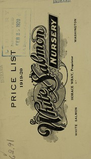 Cover of: Special price list 1919-20 | White Salmon Nursery