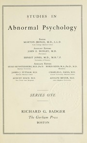 Cover of: Studies in abnormal psychology