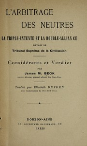 Cover of: L'arbitrage des neutres