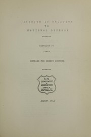 Cover of: Insects in relation to national defense | United States. Bureau of Entomology and Plant Quarantine