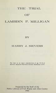 Cover of: Trial of Lambdin P. Milligan | Harry Joseph Sievers