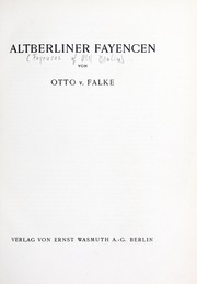 Cover of: Altberliner fayeneen