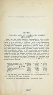 Cover of: Some records of progress in applied chemistry ... | William McMurtrie