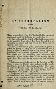 Cover of: Sacerdotalism in the Church of England