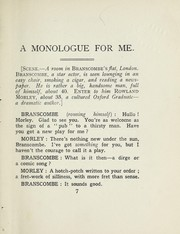 Cover of: A monologue for me