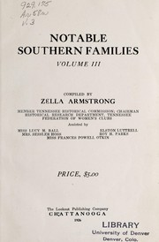 Cover of: Notable southern families. | Zella Armstrong