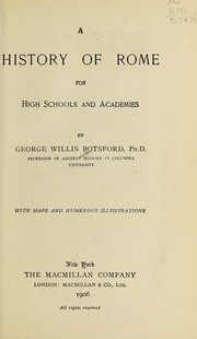 Cover of: A history of Rome for high schools and academies