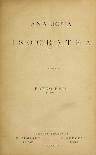 Analecta Isocratea by Bruno Keil