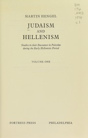 Cover of: Judaism and Hellenism | Martin Hengel