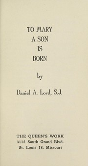 Cover of: To Mary a son is born
