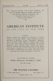 Cover of: Rare American history and travel, standard and classical English books, scientific, agricultural and mechanical books, periodicals and journals in long runs, being a portion of the library of the American Institute of the City of New York