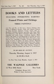 Cover of: Books and letters including interesting rarities, framed prints and etchings, three paintings