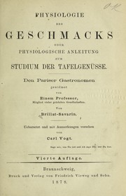 Cover of: Physiologie des geschmacks