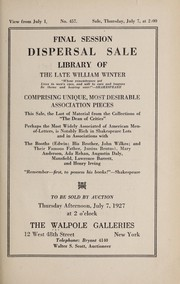 Cover of: Library of the late William Winter...comprising unique, most desirable association pieces