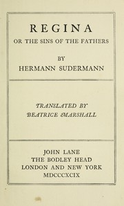 Cover of: Regina, or, The sins of the fathers | Hermann Sudermann