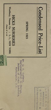 Cover of: Condensed price-list | Hicks Nurseries (Westbury, Nassau County, N.Y.)