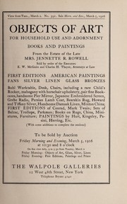 Cover of: Objects of art for household use and adornment, books and paintings from the estate of the late Mrs. Jeannette R. Rowell ...