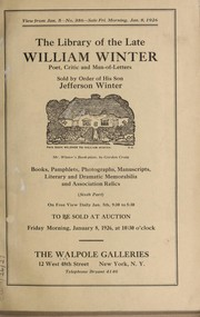Cover of: Library of the late William Winter, poet, critic and man-of-letters