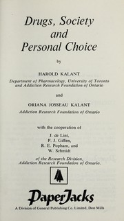 Cover of: Drugs, society and personal choice