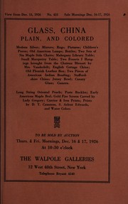 Cover of: Glass, china, plain, and colored