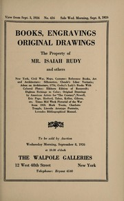 Cover of: Books, engravings, original drawings; the property of Mr. Isaiah Rudy and others