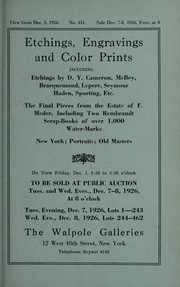 Cover of: Etchings, engravings and color prints