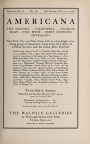 Cover of: Americana; the Indians, California, Florida, maps, the West, first editions, genealogy; New York City and State items with an exceedingly interesting group of association items from the library of George Catlin, and his friend Miss Hutton ...