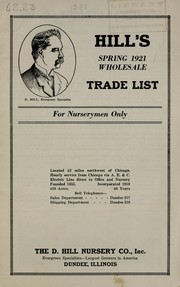Hills spring 1921 wholesale trade list for nurserymen only
