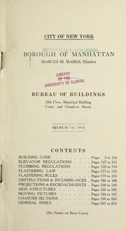 Cover of: [Building code] city of New York, Borough of Manhattan ... Bureau of Buildings ...