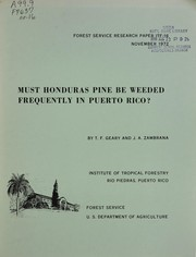 Cover of: Must Honduras pine be weeded frequently in Puerto Rico?